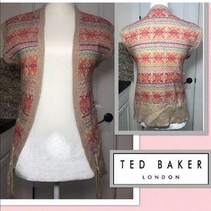 Ted Baker Open Sweater Vest Cardigan Fair Isle